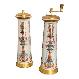 Vintage Lenox Gilt Porcelain Salt and Pepper Mill Set - a Pair For Sale