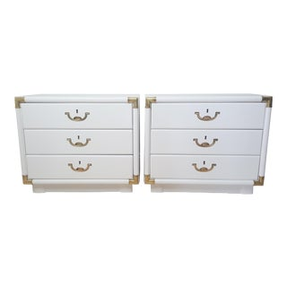White Lacquered Drexel Accolade Nightstands - a Pair For Sale