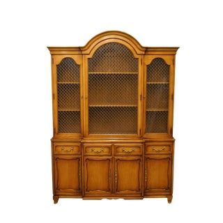 20th Century French Country Rway Furniture Secretary Desk with Illuminated Display Hutch For Sale