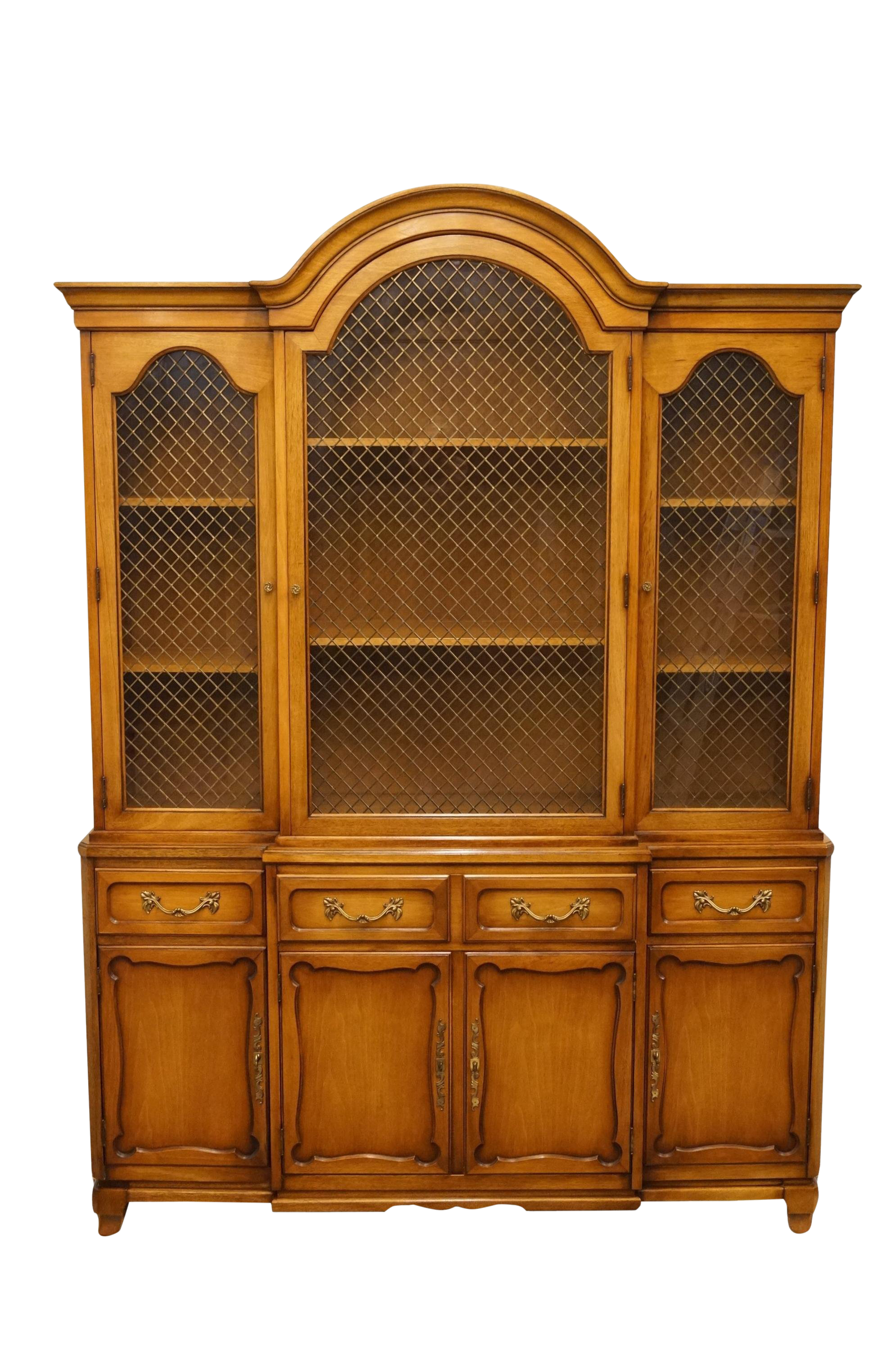 20th Century French Country Rway Furniture Secretary Desk With Illuminated  Display Hutch
