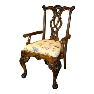 English Chippendale Style Carved Multi-Function Arm Chair W/Animal Print For Sale