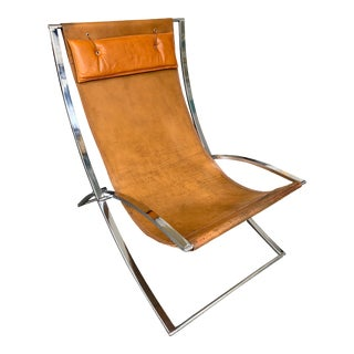 Lounge Chair Leather and Chrome by Marcello Cuneo, Italy, 1970s For Sale