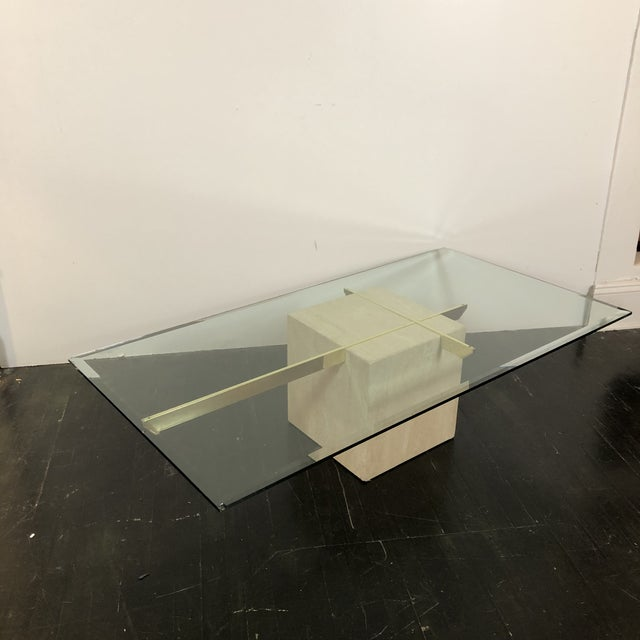 1970s Italian Marble and Brass Side Tables by Artedi. Elegant and Minimal Design gives a clean modern look. Glass...