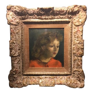 Vintage Mid-Century Woman in Red Oil Painting For Sale