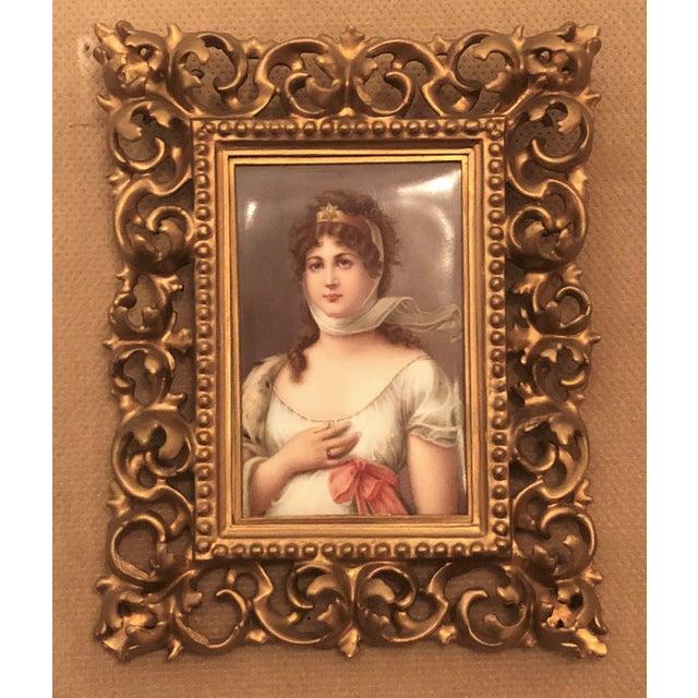 "Portraiture Antique 19th Century Porcelain Portrait of Royal Bavarian Princess Queen Consort ""Louise of Germany,"" 1823-1884. For Sale - Image 3 of 3"