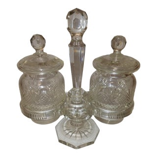 Edwardian Flint Cut Crystal Jam Jars & Stand For Sale
