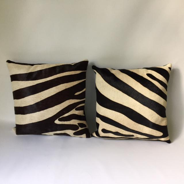 Zebra Printed Hide Pillows - a Pair - Image 3 of 8