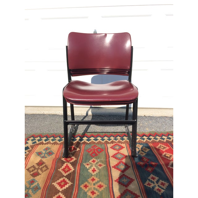Red David Rowland for Rowe 40/4 Stackable Chairs- Set of 4 For Sale - Image 8 of 11