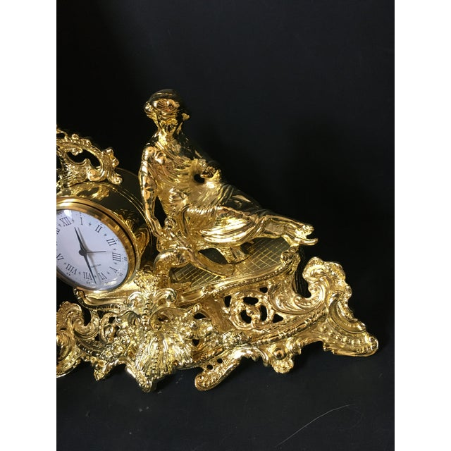 Italian Polish Brass Mantel Clock Statue of a Woman For Sale - Image 4 of 7