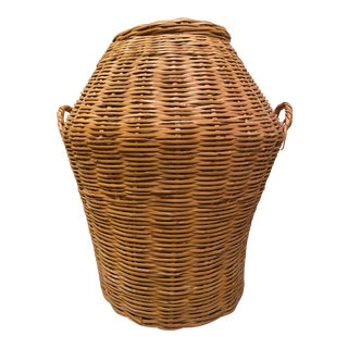 Vintage Split Bamboo Basket With Lid For Sale