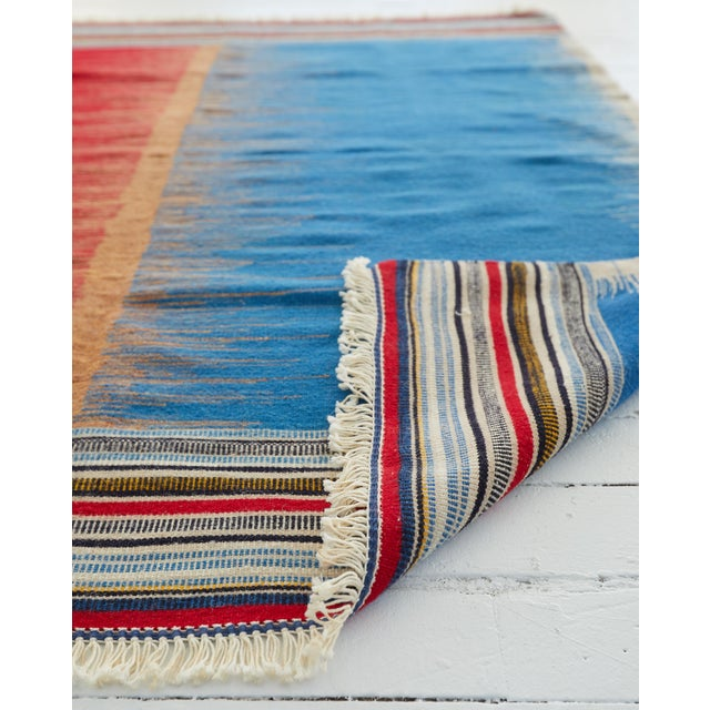 This is a contemporary handmade wool kilim rug. Country of Origin: Azarbayajn Style of the rug : Kamo Construction: Hand-...