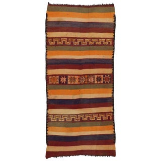 Vintage Mid-Century Berber Moroccan Kilim Runner Rug - 3′7″ × 12′ For Sale
