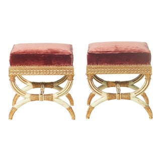 20th C. Italian Style Giltwood and Painted Benches - a Pair For Sale