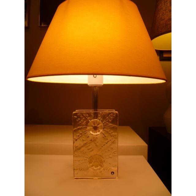 1960s Swedish Modern Pukeberg Ice Glass Table Lamp For Sale - Image 10 of 11