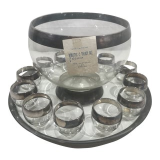 Dorothy Thorpe Sterling Silver Rim Crystal Punch Bowl Set With Original Labels - 14 Pieces For Sale