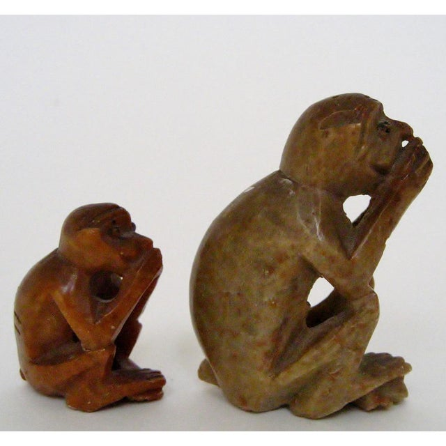 Late 20th Century Carved Stone Monkeys - A Pair For Sale - Image 5 of 6