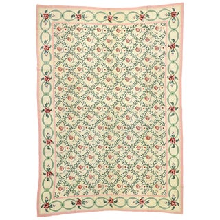 20th Century Chinese Aubusson Floral Trellis Needlepoint Rug - 9′11″ × 13′9″ For Sale