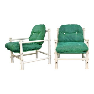 Mid 20th Century Landes Pvc Outdoor Idyllwild Lounge Chairs with Green Mesh Upholstery by Jerry Johnson - a Pair For Sale