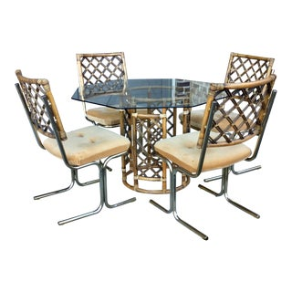 Vintage Hollywood Regency Daystrom Glass & Brass Lattice Rattan Dining Set - 5 Pieces For Sale