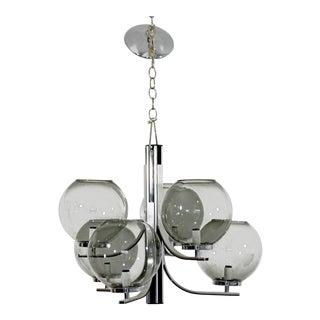 Mid-Century Modern Lightolier 6 Smoked Glass Globe Chrome Chandelier Fixture For Sale