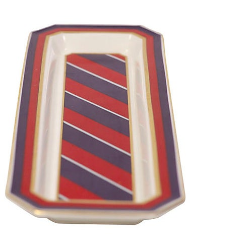 Handsome Minton porcelain tray by Jean Muir with design reminiscent of a man's necktie.
