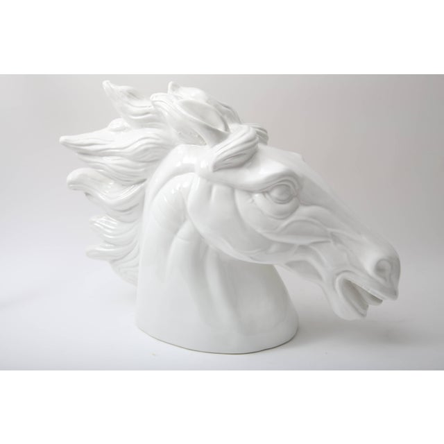 Large Scale White Horse Head Sculpture For Sale In West Palm - Image 6 of 10