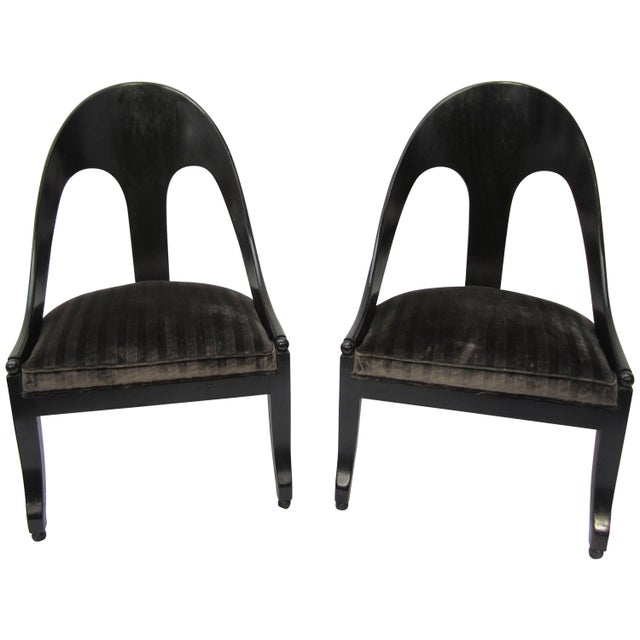 Black Pair of Spoon Back Modern Chairs For Sale - Image 8 of 8