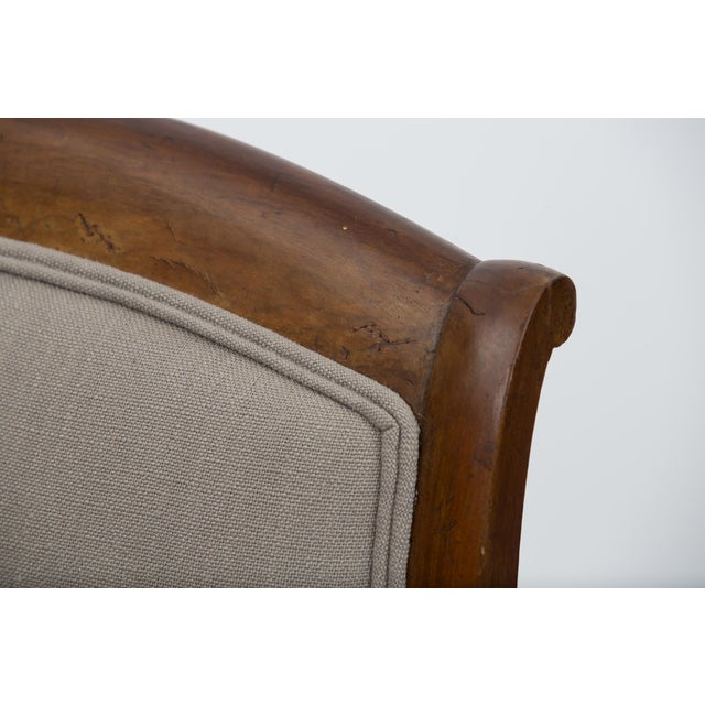 Solid Walnut Pair French Restauration Armchairs For Sale - Image 9 of 10