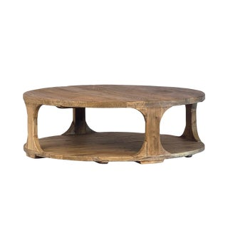 """Carved Elm Coffee Table 48"""" For Sale"""