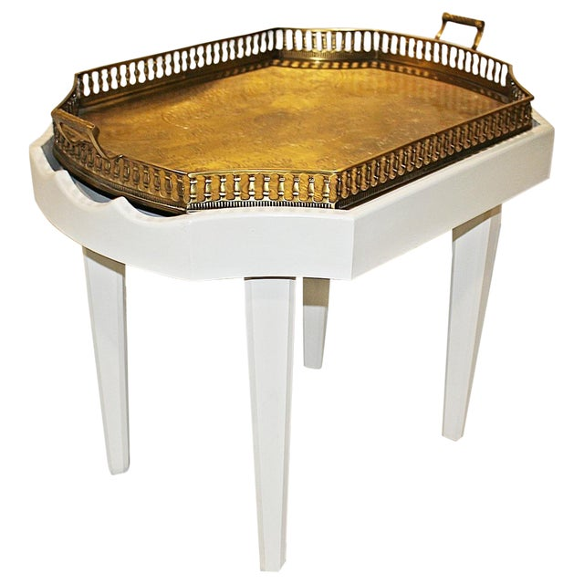 Ivory Chinoiserie-Style Brass Tray Cocktail Table For Sale