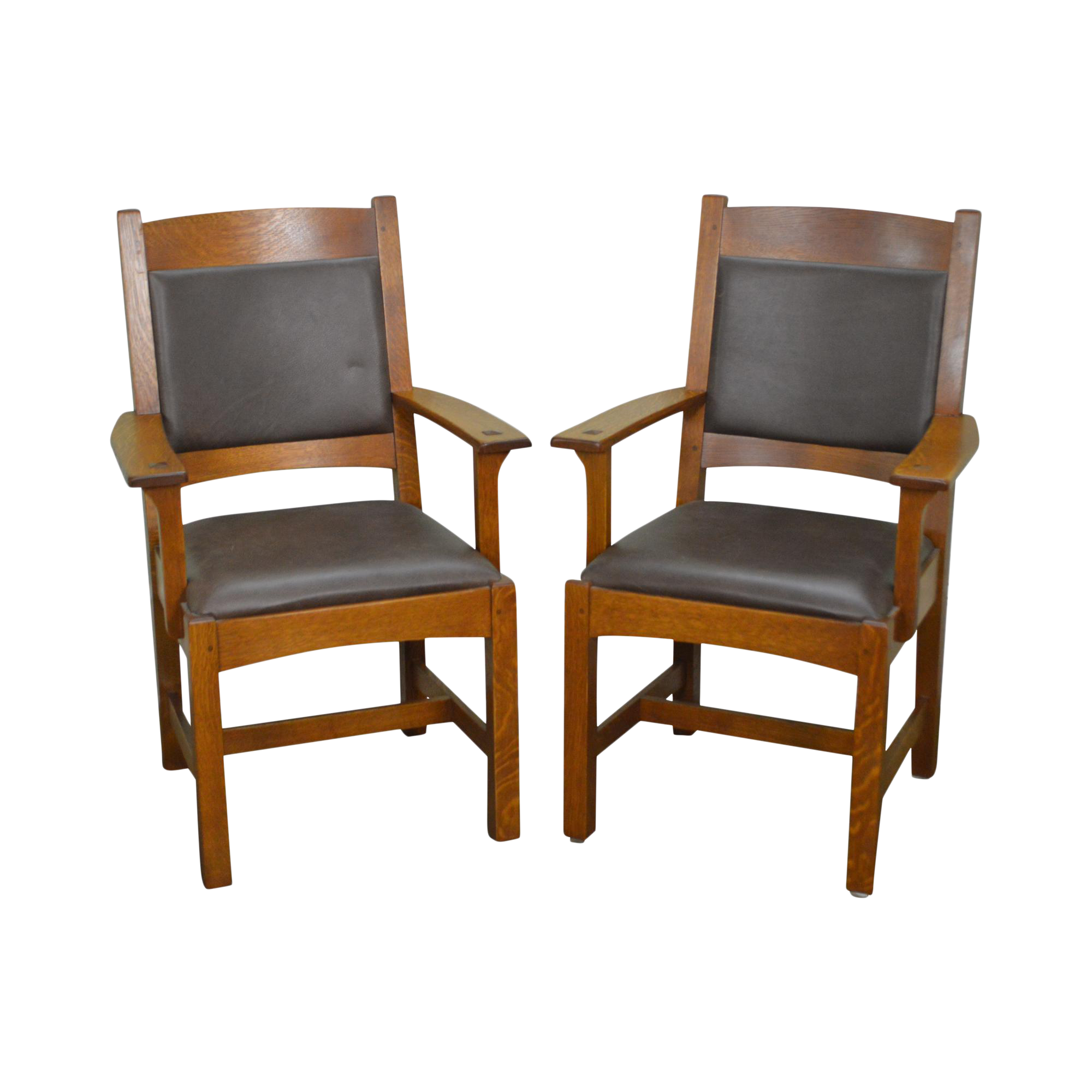 Attrayant Stickley Pair Of Mission Oak U0026 Leather Arm Chairs