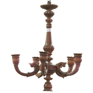 Carved Walnut Wooden Chandelier For Sale