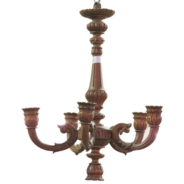 Carved Walnut Wooden Chandelier - Image 1 of 5