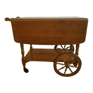 20th Century Ethan Allen Solid Maple Tea Cart For Sale