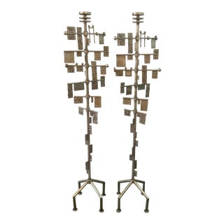 Brutalist Floor Candlesticks, a Pair For Sale
