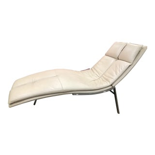 Giovanni Offredi White Leather Chaise Lounge