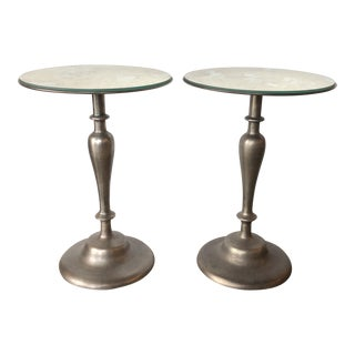 Cast Steel With Veined Mirror Tops End Tables - a Pair