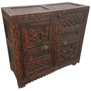 Moroccan Carved Wooden Cabinet, Berber Style For Sale