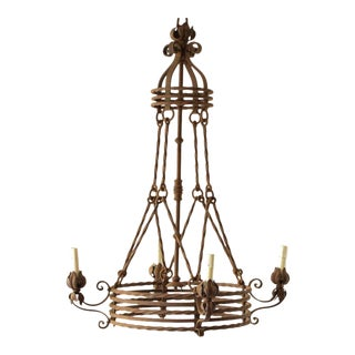 Rustic French Chandelier With Concentric Ring Design For Sale