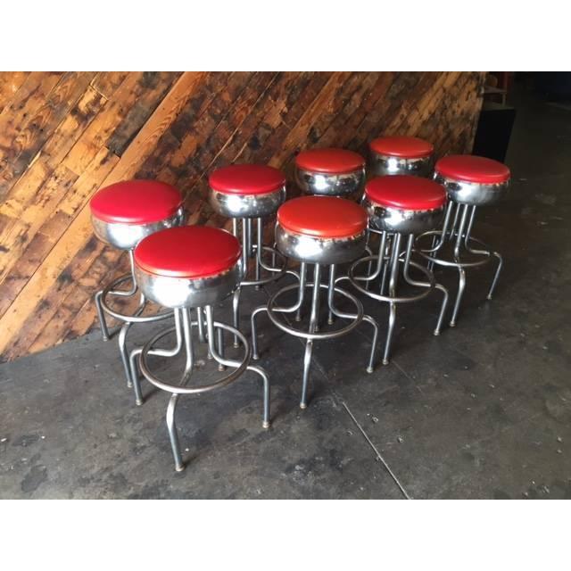 Mid-Century Chrome Diner Bar Stools- Set of 8 - Image 8 of 8