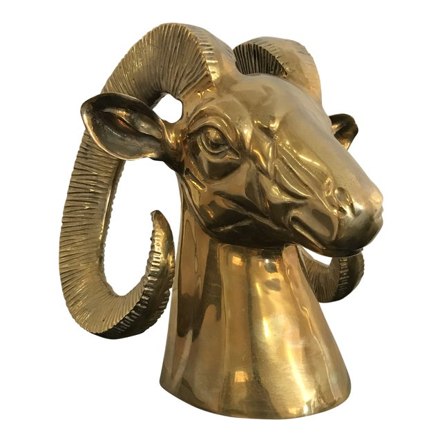 1980s Contemporary Brass Ram's Head on Marble Base For Sale