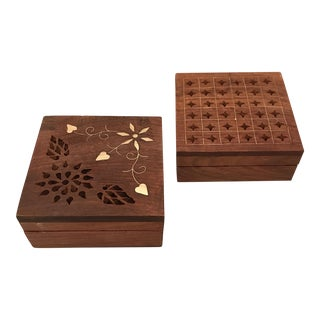 Indian Carved Wood & Inlaid Brass Boxes - a Pair For Sale