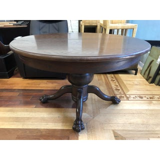 Antique Wood Lion Claw Foot Pedestal Table Preview