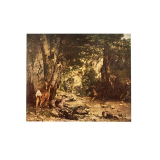 """1950s Gustave Courbet """"Roe Deer in a Fores"""" Lithograph For Sale"""