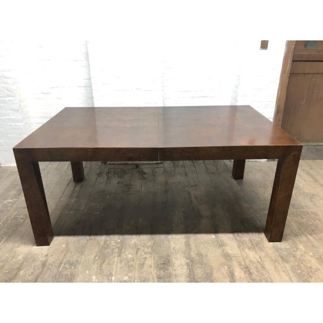 Mid-Century Modern Milo Baughman Burl Wood Dining Table With Two Leaves For Sale - Image 3 of 9