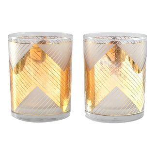 Vintage Mid-Century Modern Geometric Chevron Culver 24-Ct Gold Lowball Glasses - a Pair For Sale