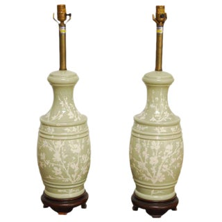 Pair of Chinese Celadon Style Vase Table Lamps by Marbro For Sale