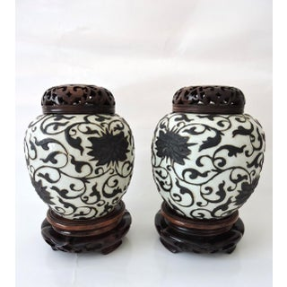 Fine Antique Chinese Peony Porcelain Ginger Jars With Reticulated Wood Stands and Tops - a Pair Preview