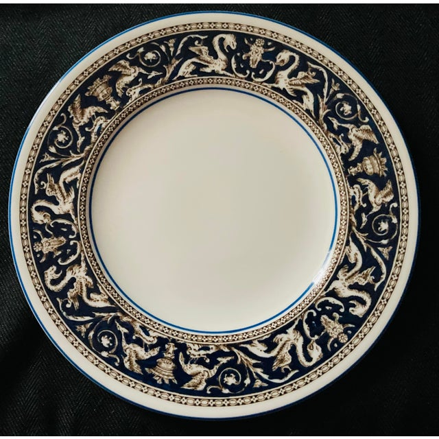 Wedgewood, England, Florentine Pattern (Brown Dragons in dark blue) Two Dinner and one Salad Plates. Beautifully elegant...
