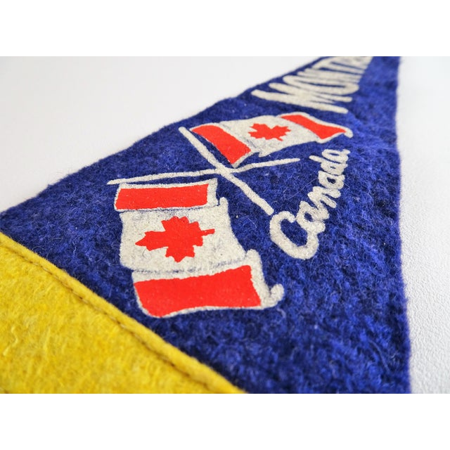 Vintage Mid-Century Montreal Canada Felt Flag For Sale - Image 4 of 10